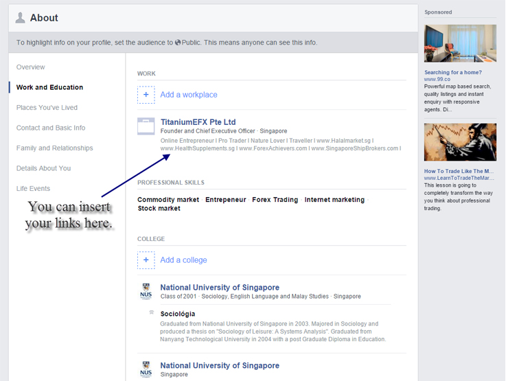Insert links in Facebook Profile