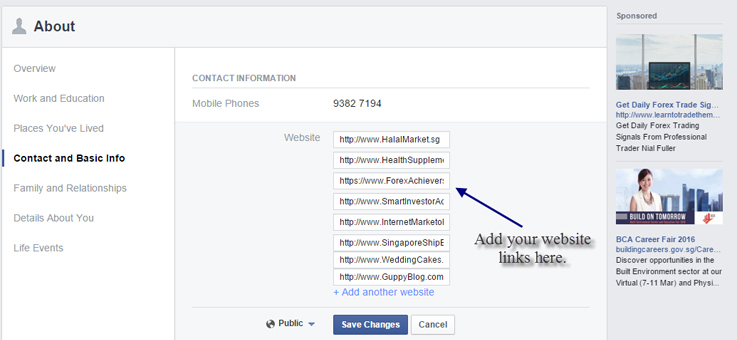 Insert links in Facebook Profile 2